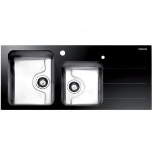 سینک ظرفشویی استیل البرز کریستال مشکی مدل Crystal 1 توکار چپ